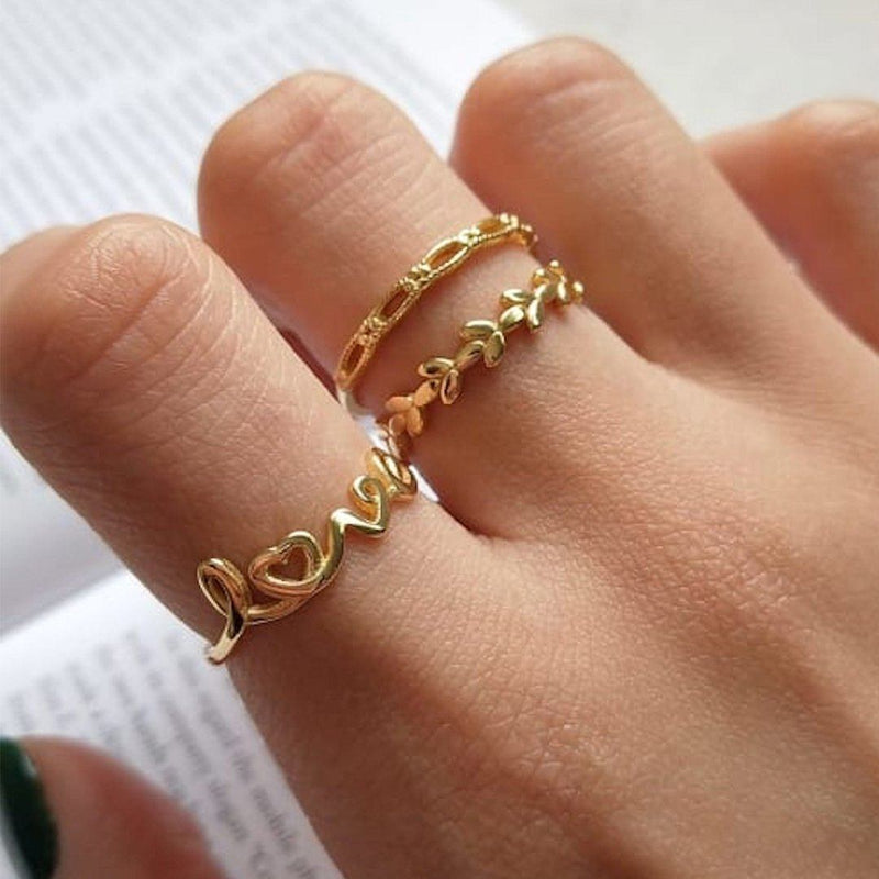 14K Gold Promise Love Ring Set, EB71/2/3 Rings i_did Full Set