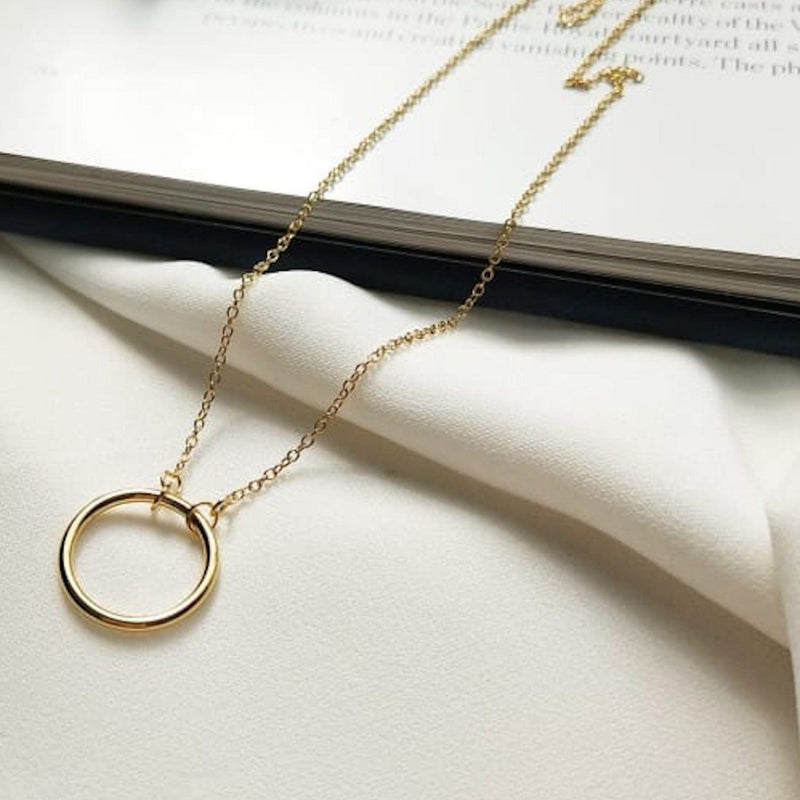 18K Gold Circle Necklace for Women, EB61 Necklaces Elk & Bloom