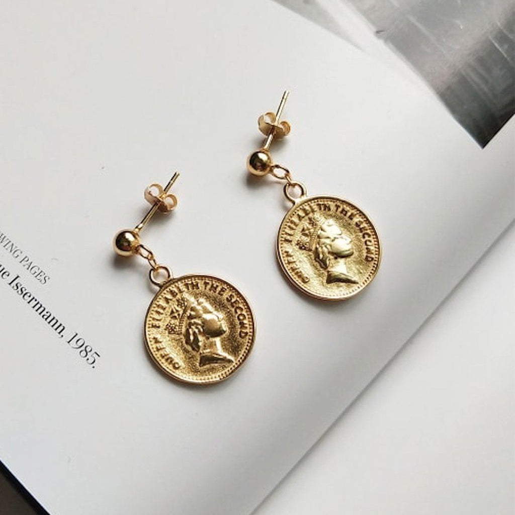 18K Gold Coin Stud Earrings, EB80 Earrings i_did Two studs (2 ears)
