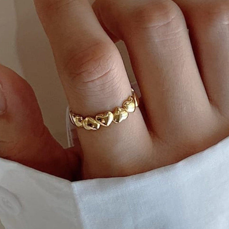 18K Gold Heart Band Ring, EB75 Rings i_did
