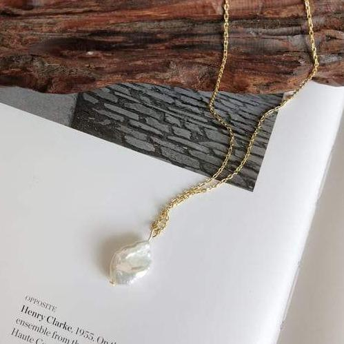 18K Gold Plated Silver Irregular Pearl Necklace Necklaces i_did