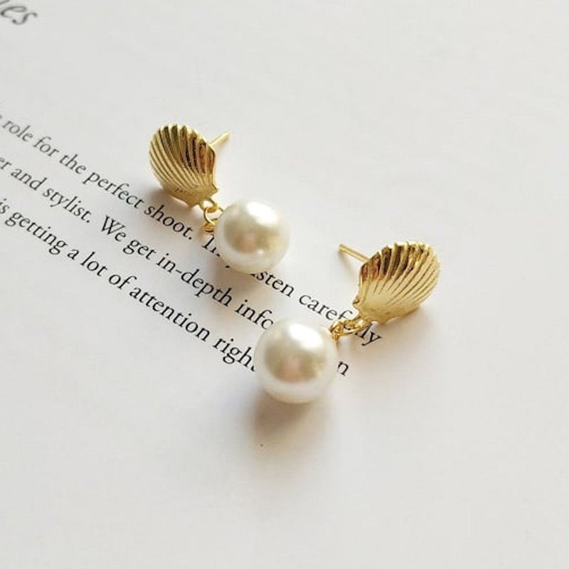 18K Gold Shell Pearl Mermaid Stud Earrings, EB64 Earrings i_did Two studs (2 ears)