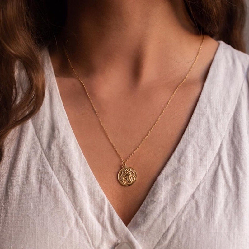 Chunky 14K Gold Coin Medallion Necklace, EB69 Necklaces i_did