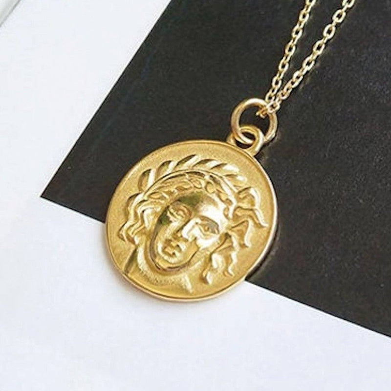 Chunky 14K Gold Coin Medallion Necklace, EB69 Necklaces i_did Pendant only