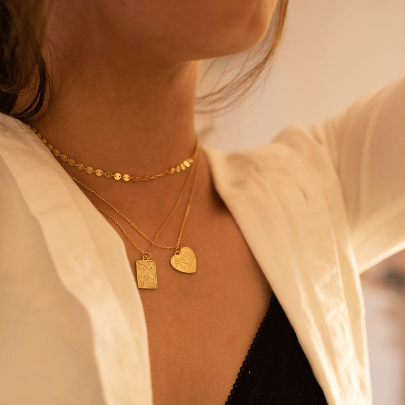 Chunky 14K Gold Heart Love Necklace Set, EB22/23 Necklaces i_did