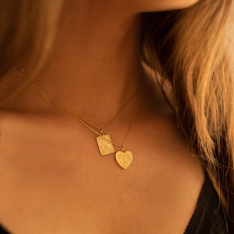 Chunky 14K Gold Heart Love Necklace Set, EB22/23 Necklaces i_did Full Set