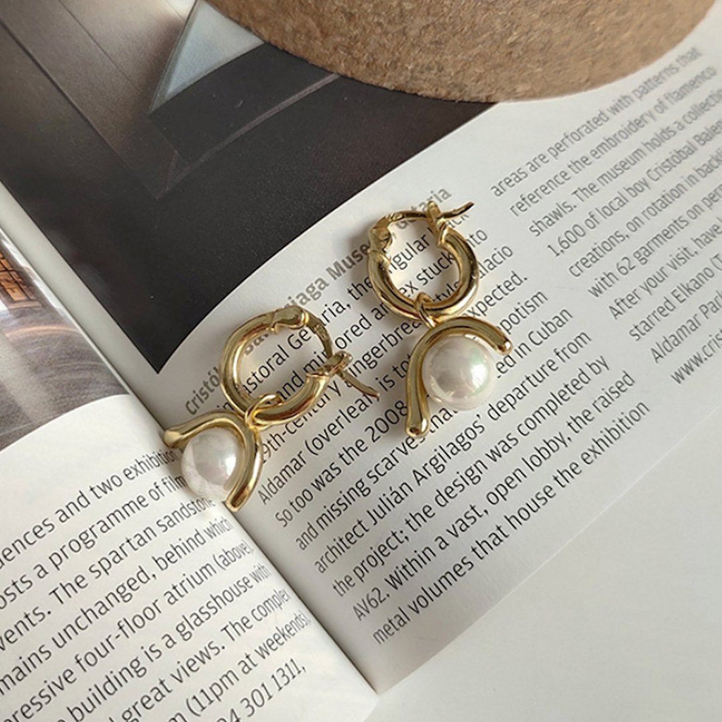 Chunky 14K Gold Pearl Hoops Earring, EB57 Earrings i_did 2 earrings (2 ears)