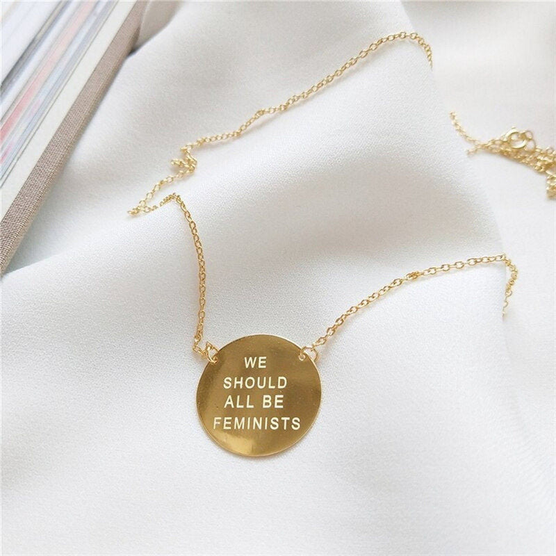 Chunky 18K Gold Feminist Necklace, EB86 Necklaces i_did Pendant only