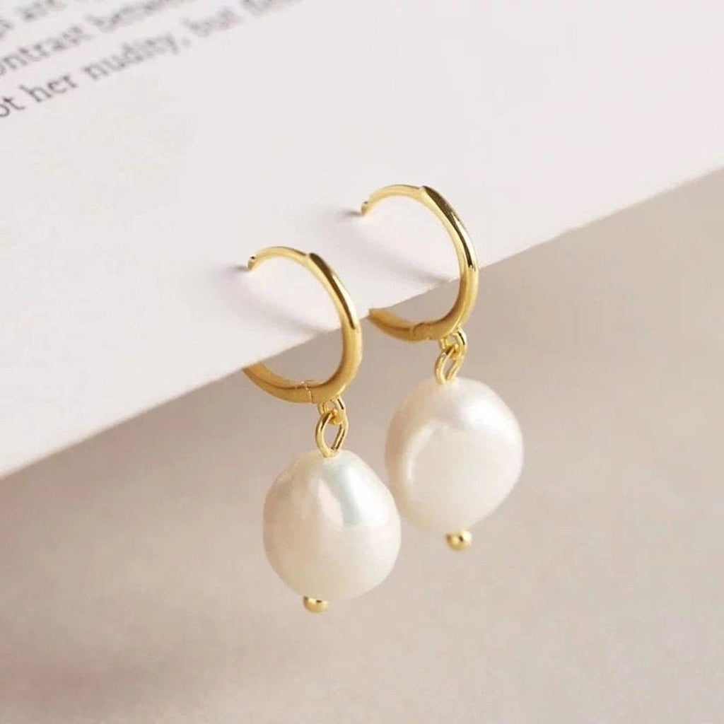 Chunky 18K Gold Freshwater Pearl Hoops Earrings, EB54 Earrings i_did 2 earrings (2 ears)