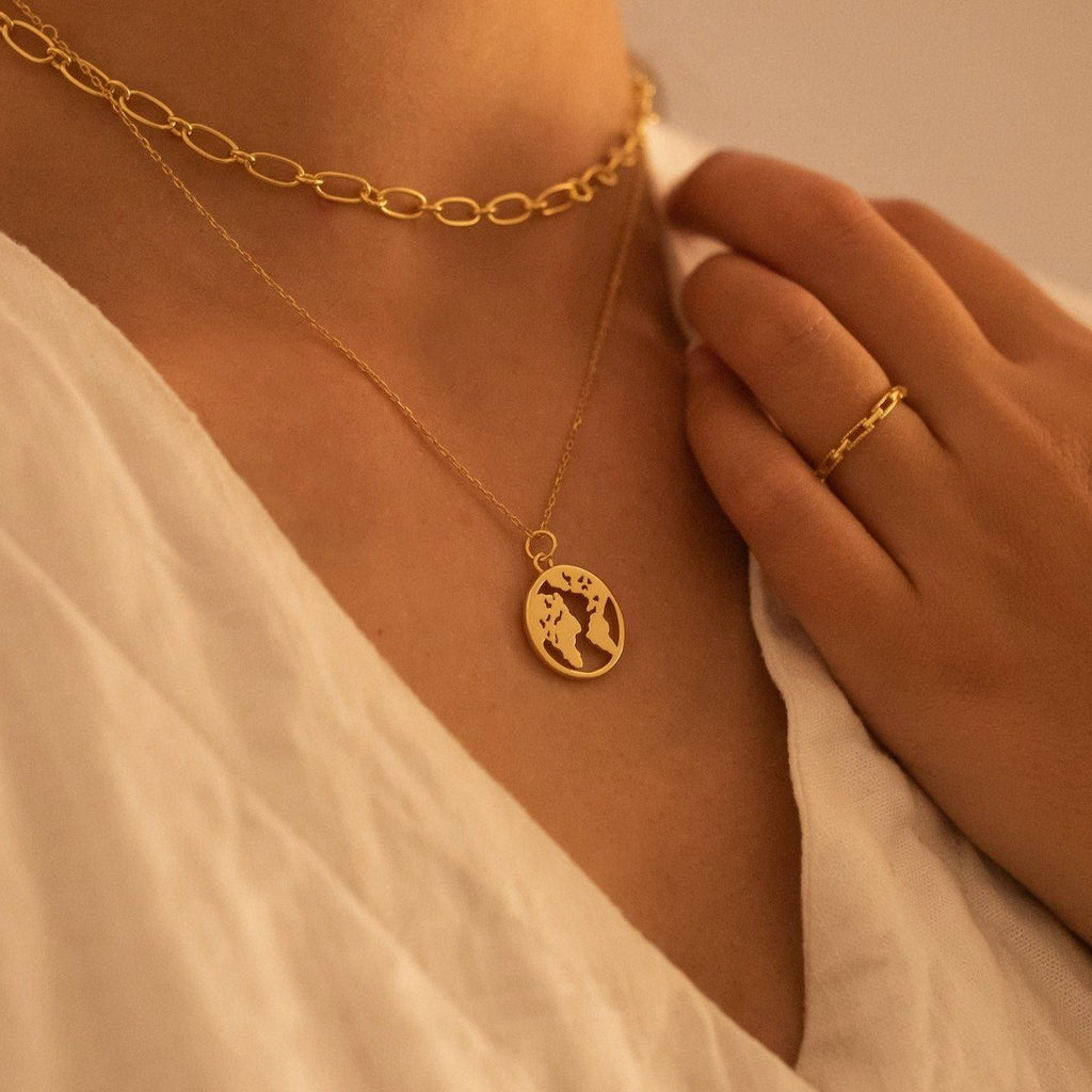 Chunky 18K Gold Globe Earth Necklace, EB83 Necklaces i_did