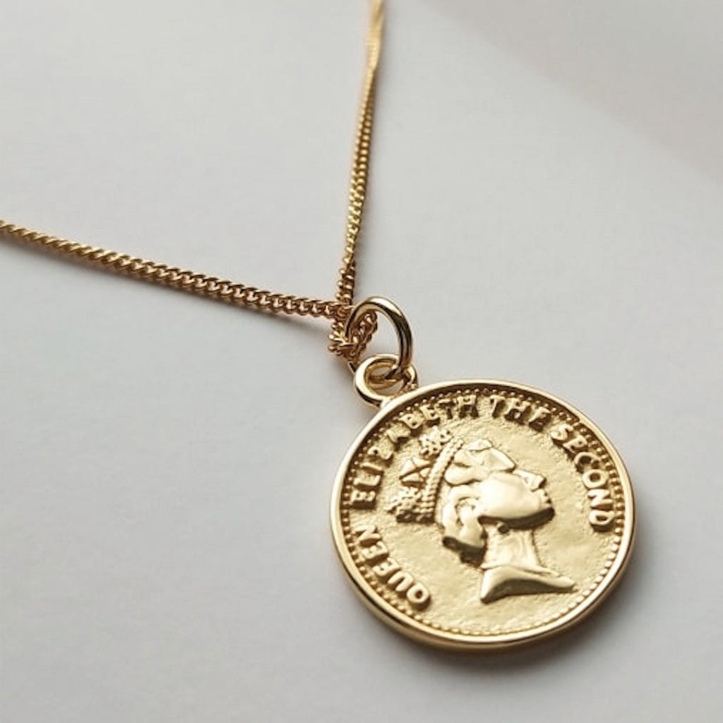 Chunky 18K Gold Lucky Penny Coin Medallion Necklace, EB70 Necklaces i_did