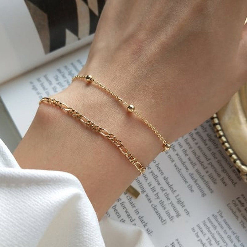 Dainty 14K Gold Bracelet Set, EB50/51 Bracelets i_did Full Set