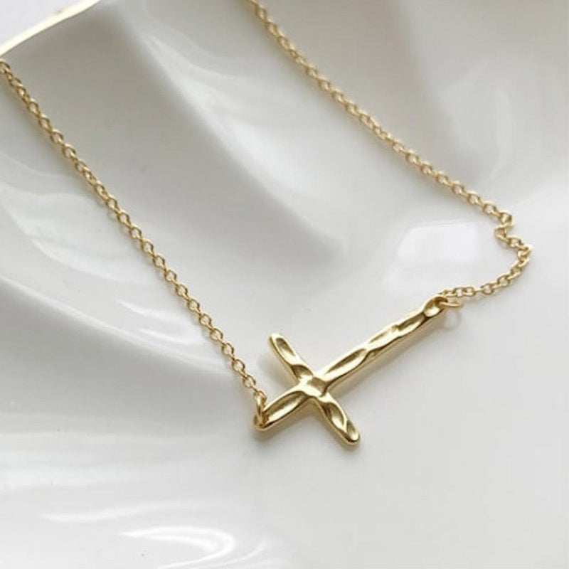 Dainty 14K Gold Cross Choker Necklace, EB34 Necklaces i_did