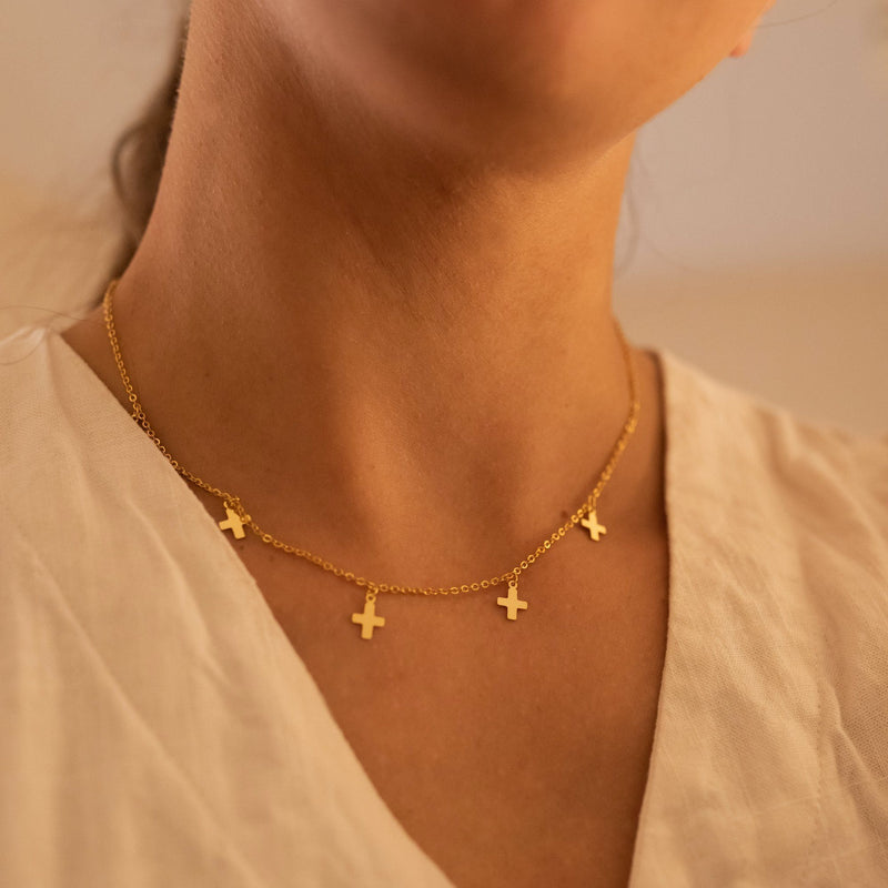Dainty 14K Gold Cross Choker Necklace, EB46 Necklaces i_did