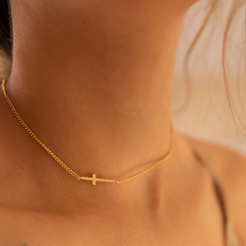 Dainty 14K Gold Cross Choker Necklace, EB48 Necklaces i_did