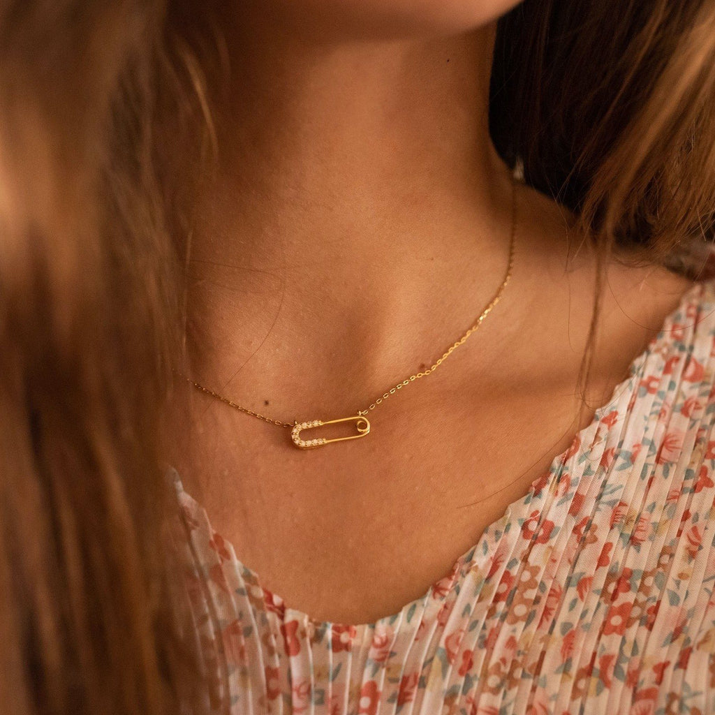 Dainty 14K Gold Safety Pin Necklace, EB36 Necklaces i_did