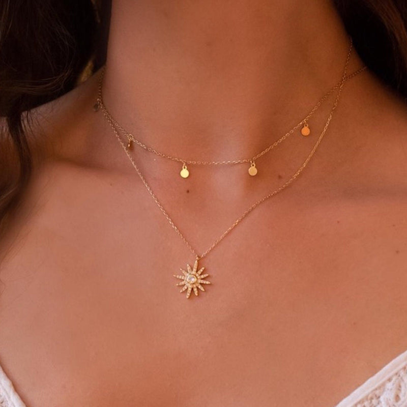 Dainty 14K Gold Star Sun Necklace, EB33 Necklaces i_did