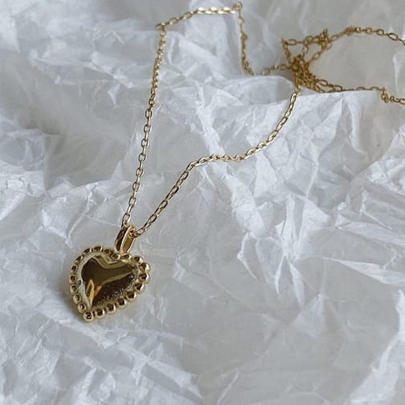 Dainty 18K Gold Heart Love Necklace, EB19 Necklaces i_did Full necklace