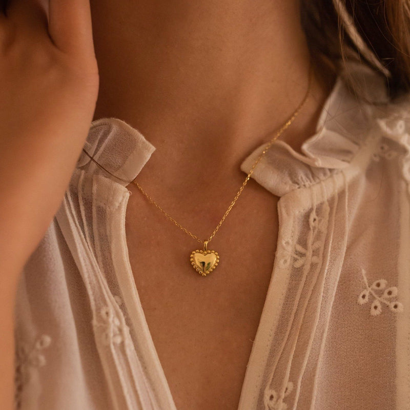 Dainty 18K Gold Heart Love Necklace, EB19 Necklaces i_did