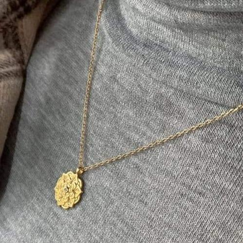 Dainty 18K Gold Plated Silver Lotus Flower Necklace Necklaces i_did