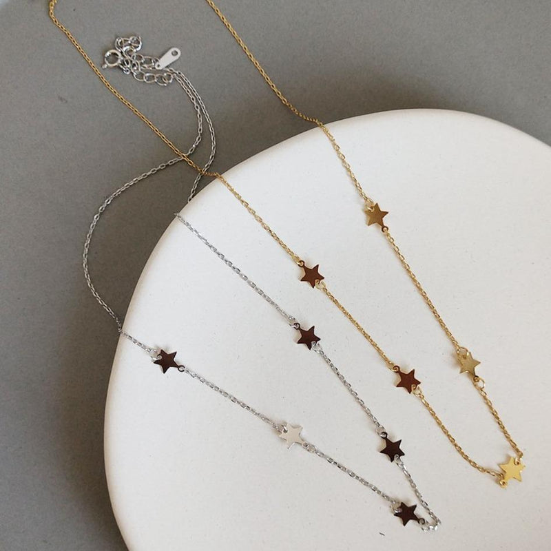 Dainty 18K Gold Plated Silver Star Choker Necklaces Elk & Bloom Gold Yes, please Yes, please (add length at checkout)