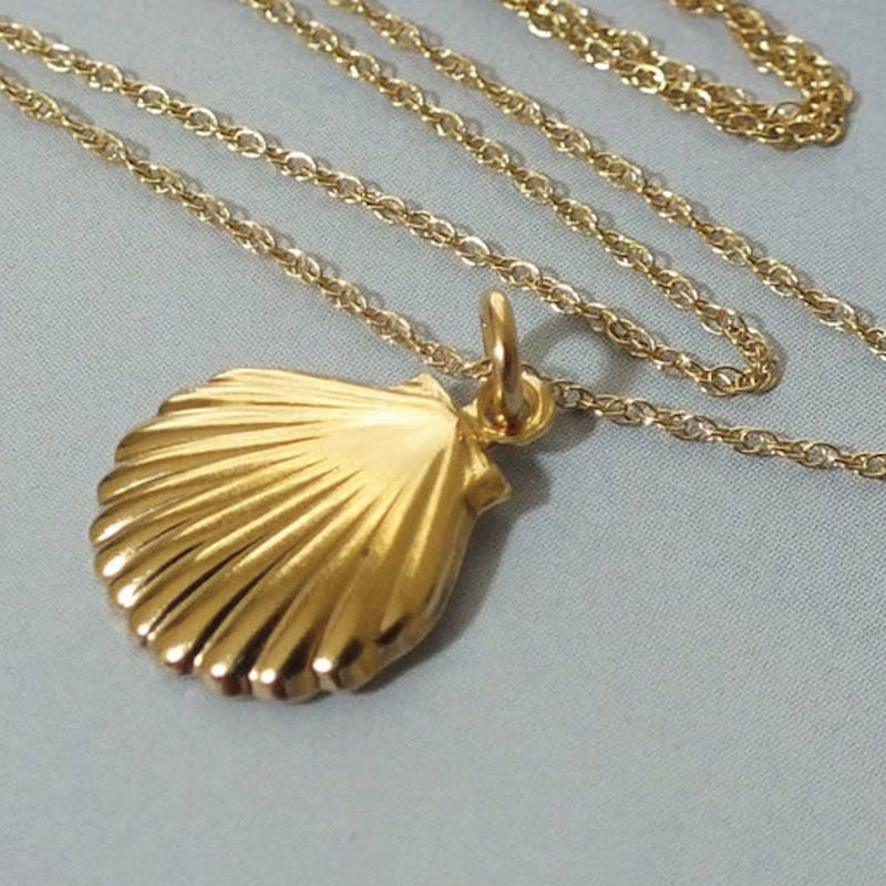 Dainty 18K Gold Shell Clam Necklace Necklaces i_did Pendant only