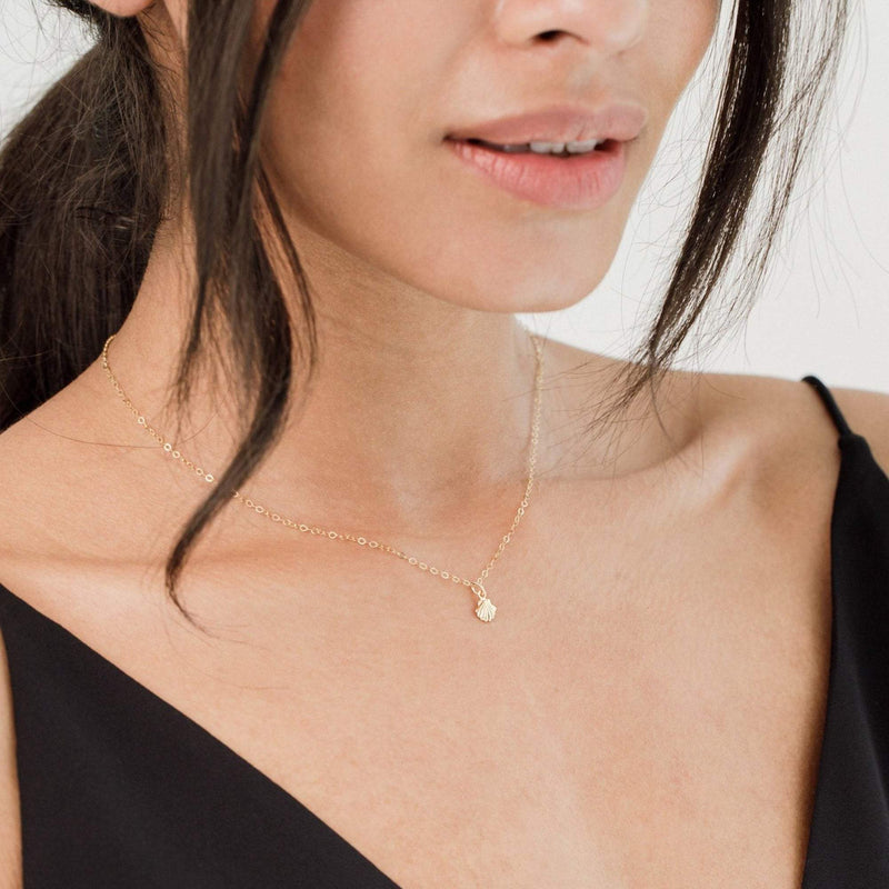 Dainty 18K Gold Shell Clam Necklace Necklaces i_did