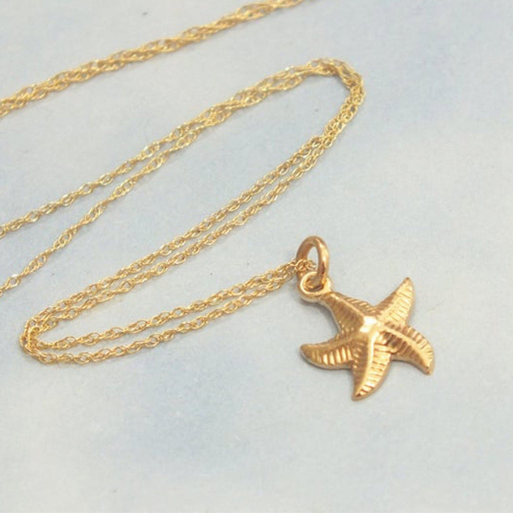 Dainty 18K Gold Starfish Necklace Necklaces i_did Full necklace