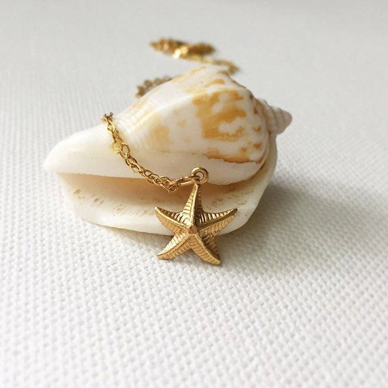 Dainty 18K Gold Starfish Necklace Necklaces i_did Pendant only