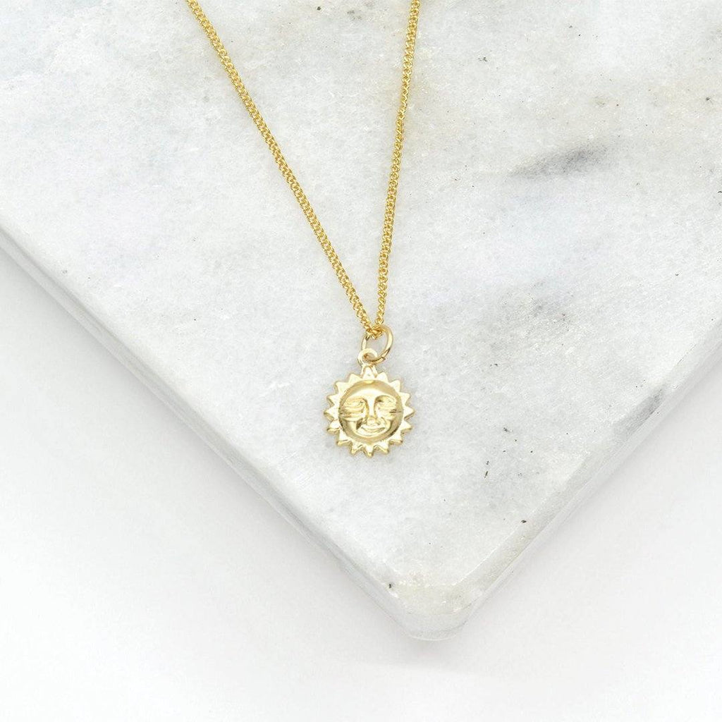 Dainty 18K Gold Sun Necklace Necklaces i_did Pendant only