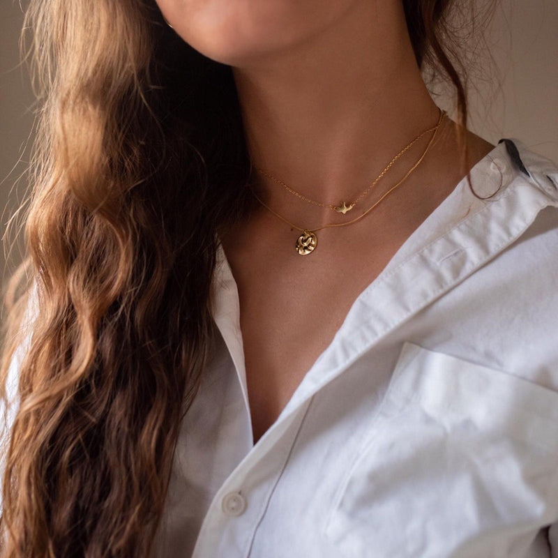 Dainty Gold 18K Bird Necklace Choker, EB84 Necklaces Elk & Bloom