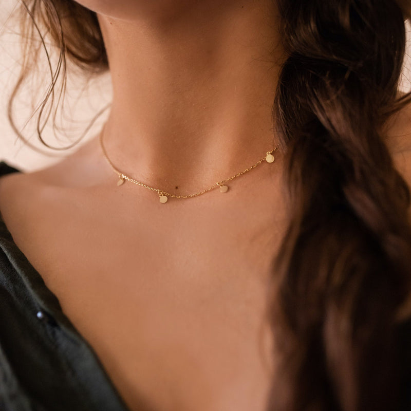 Dainty Gold 18K Disc Choker Necklace, EB10 Necklaces i_did