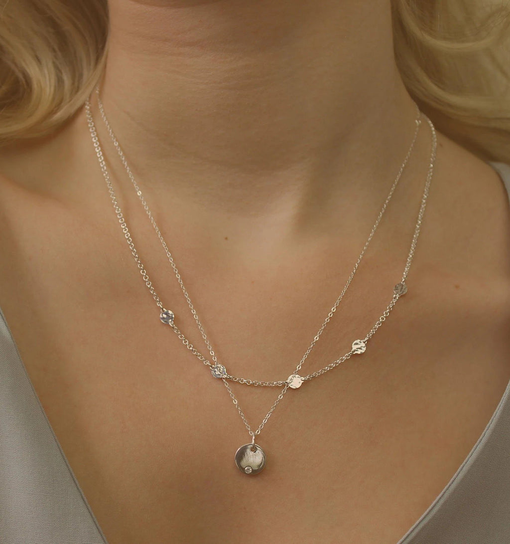 Dainty Silver Disc Necklace Necklaces i_did