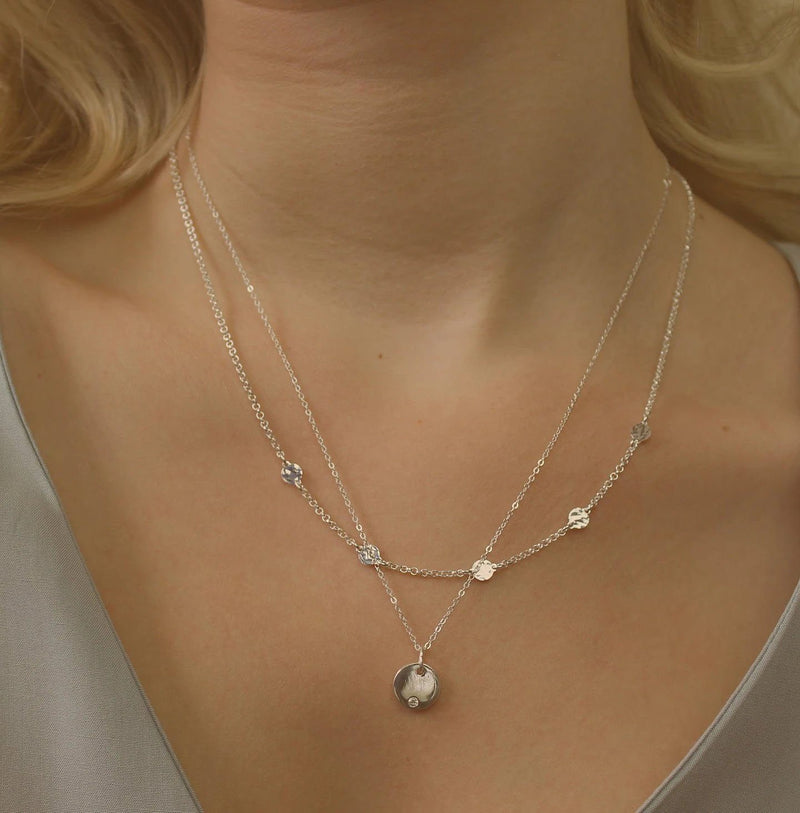 Minimalist Silver Chain Hammered Necklace Necklaces i_did