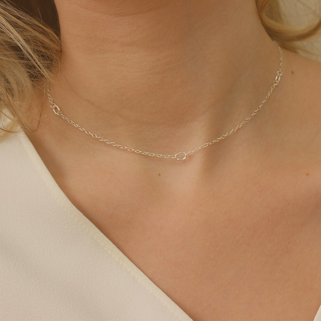 Simple Silver Choker Chain Necklace Necklaces i_did