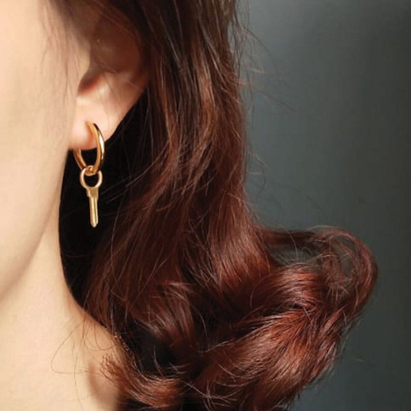 Small 18K Gold Key Earrings Earrings i_did 1 earring (1 ear)