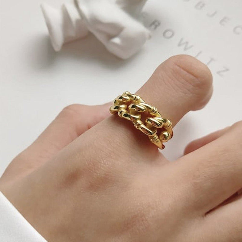 Thick 18K Gold Chain Link Ring, EB87 Rings i_did