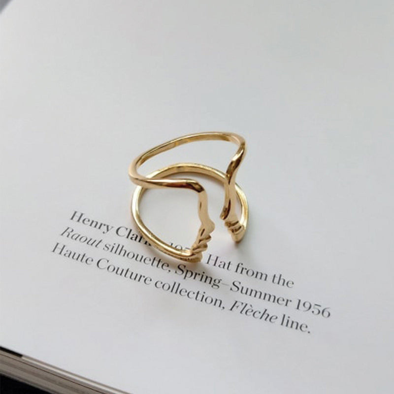 Thick 18K Gold Statement Face Ring, EB52 Rings Elk & Bloom