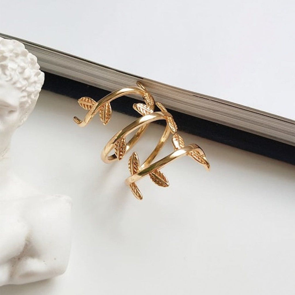 Thick 18K Gold Statement Leaf Ring, EB74 Rings i_did