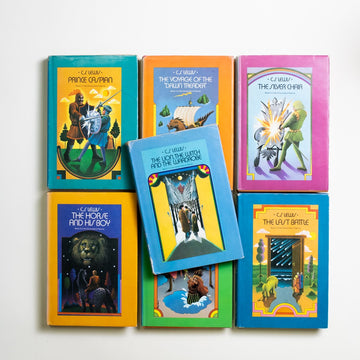 "The Chronicles of Narnia: Complete Set (Hardcover) by C.S. Lewis, Macmillan Publishers, Hardcover w. Dust Jacket set from A GOOD USED BOOK. ""One day, you will be old enough  to start reading fairytales again."" - C.S. Lewis 1950 Book Club Edition Literature Young Adult"
