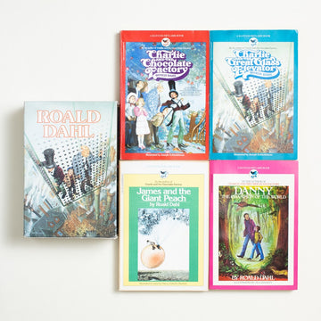 Collected Works by Roald Dahl, Bantam Skylark, Trade Softcover Box Set from A GOOD USED BOOK.  1980-1983 Various Printings Literature Charlie and the Chocolate Factory, Charlie and the Great Glass Elevator, James and the Giant Peach, Danny the Champion of the World