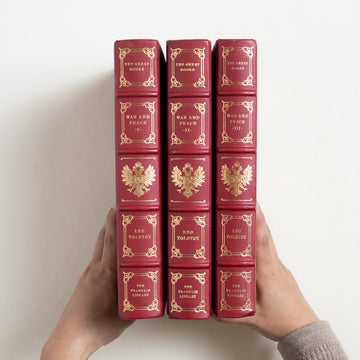 War and Peace (3-Volume) by Leo Tolstoy, Franklin Library, Leatherbound Hardcover Set from A GOOD USED BOOK.  1984 25th Anniversary Edition Classics