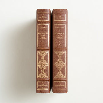 The History of Don Quixote de la Mancha: Vol. I & II by Miguel de Cervantes, Franklin Library, Leatherbound Hardcover Set from A GOOD USED BOOK.  1978 25th Anniversary Edition Classics