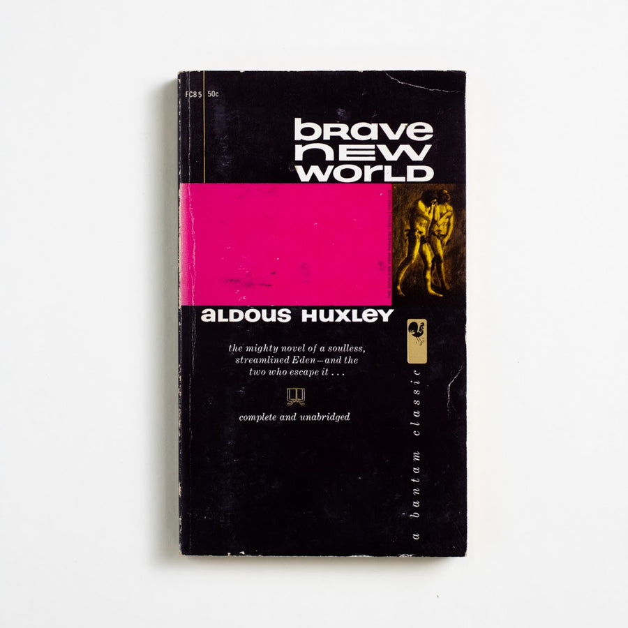 Brave New World by Aldous Huxley, Bantam Books, Paperback from A GOOD USED BOOK. A banned book, a dystopian novel, a warning.  Challenged everywhere from Ireland to India  to America, it still reads with eerie honestly. 1960 14th Printing Literature readingbrb