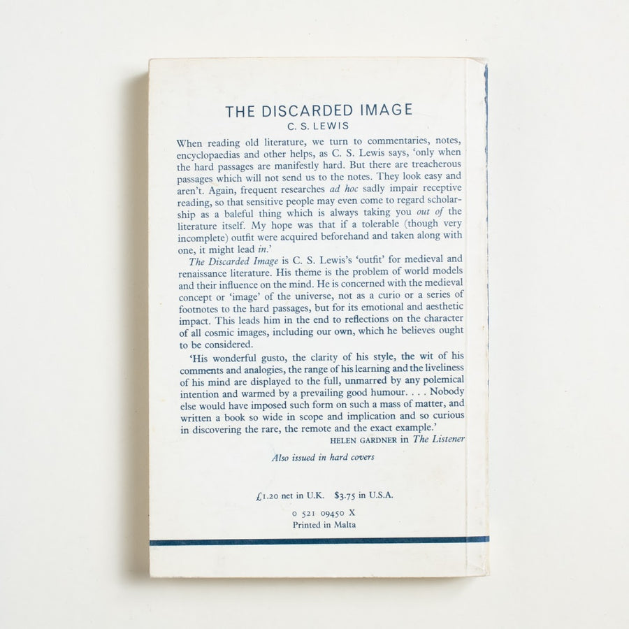 The Discarded Image: An Introduction to Medieval and Renaissance Literature by C.S. Lewis