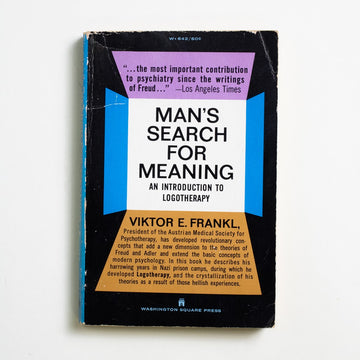 "Man's Search For Meaning (WSP) by Viktor E. Frankl, Washington Square Press, Paperback from A GOOD USED BOOK. ""When we are no longer able to  change a situation, we are  challenged to change ourselves.""  - Viktor E. Frankl 1968 7th Printing Non-Fiction Memoirs"