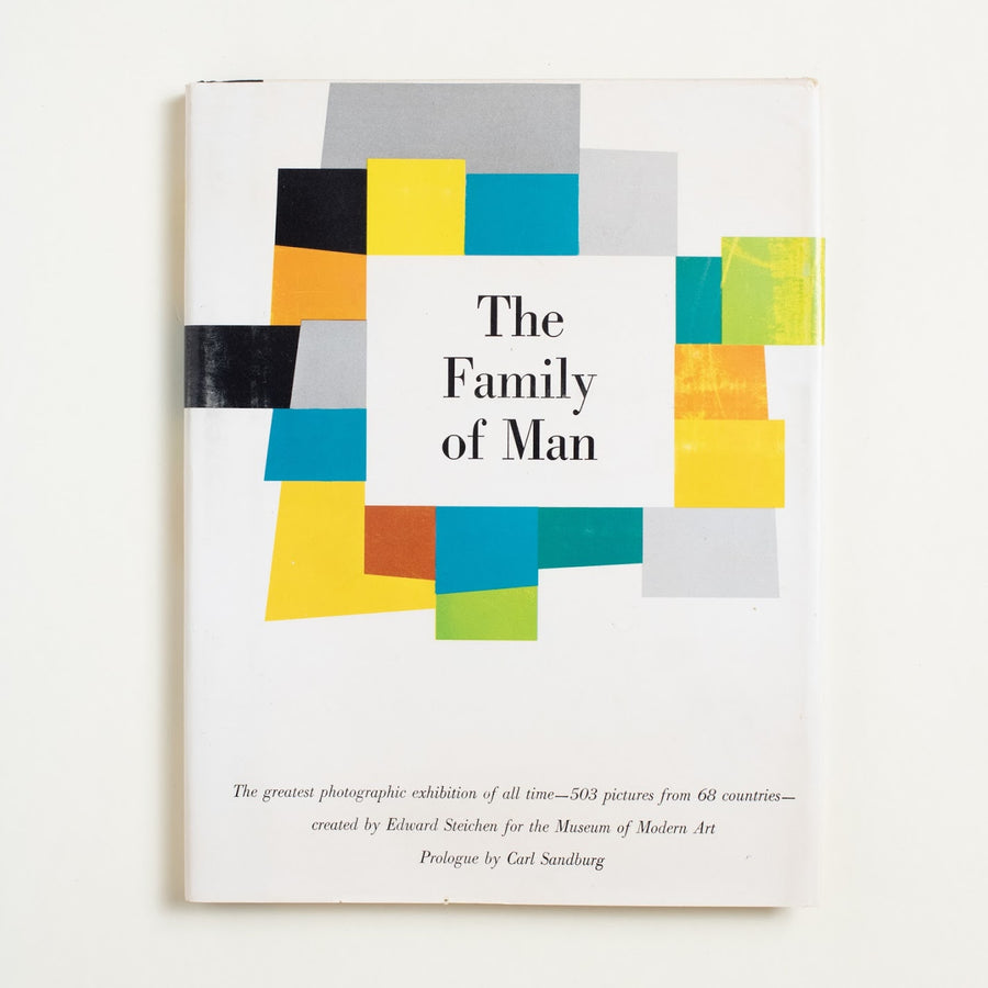 The Family of Man by Edward Steichen, Museum of Modern Art, Hardcover w. Dust Jacket from A GOOD USED BOOK. A collection of fine and stunning photographs,  this classic collection of images was curated  for the Museum of Modern Art in 1955. As an exhibit, it communicates patriotism, nostalgia. 1955 1st Edition Culture Carl Sandburg