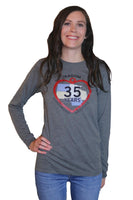 35th Anniversary Unisex Jersey Long Sleeve Tee in Deep Heather