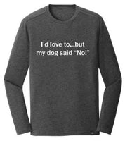 I'd Love To But...-Shadow Heather Black Long Sleeve