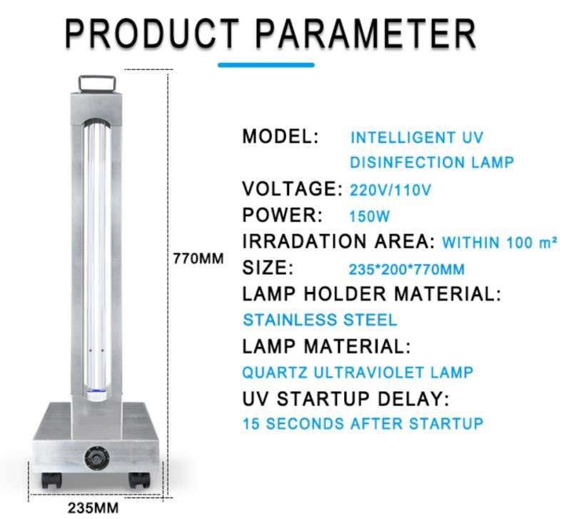 150 WATT HIGH POWER TIMER CONTROLLED GERMICIDAL UVC LIGHT TROLLEY